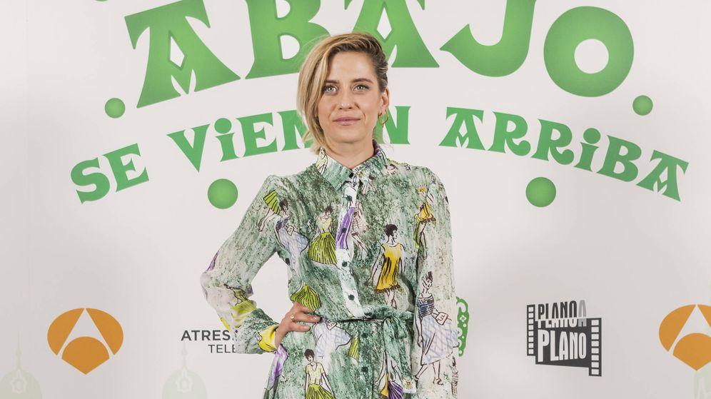 Foto: María León durante la presentación de la tercera temporada de 'Allí abajo'.