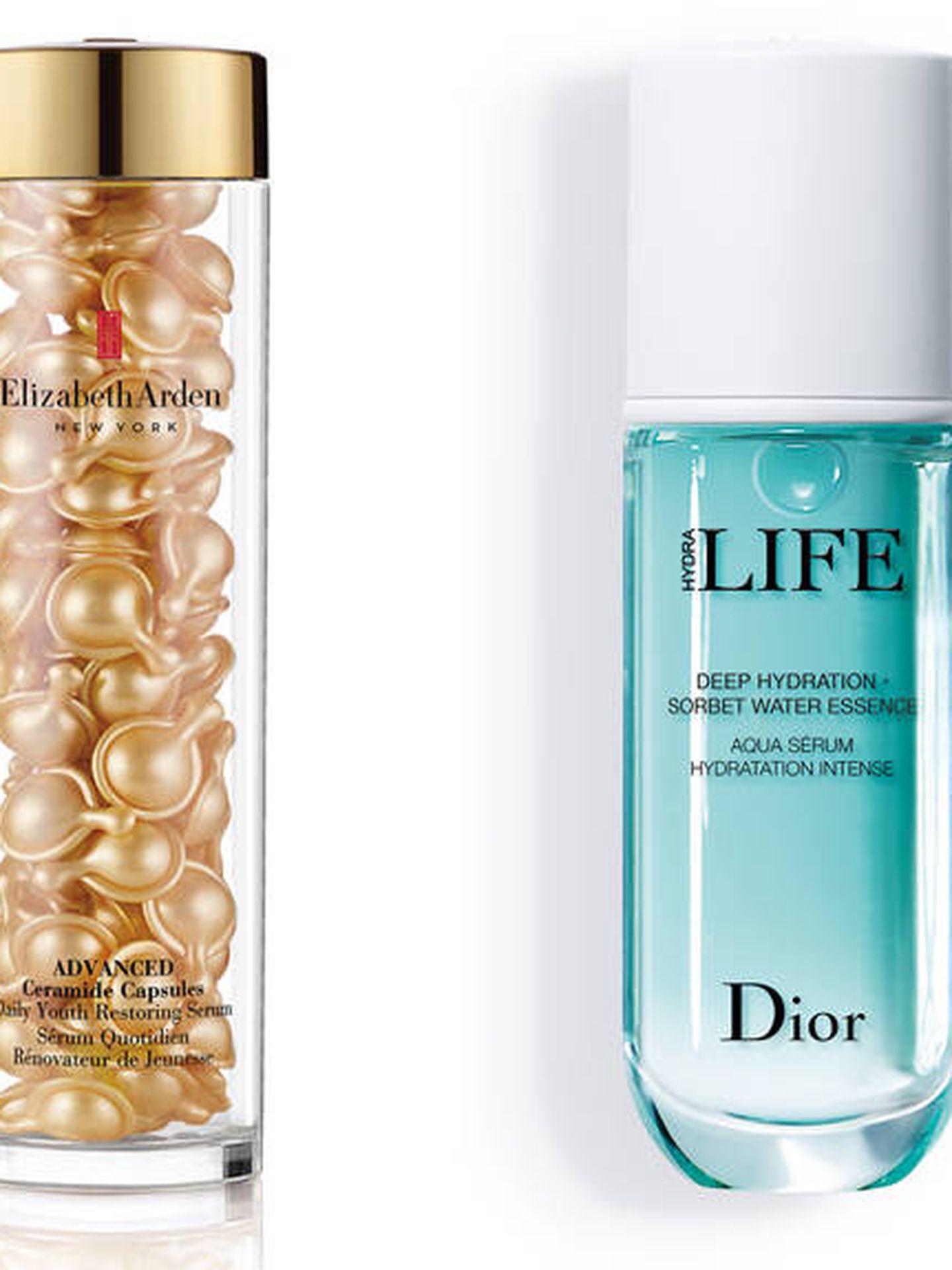 Advanced Ceramides Capsules, de Elizabeth Arden; Serum Hydra Life, de Dior; Golden Caresse Delicated Skin, de Germaine de Capuccini.
