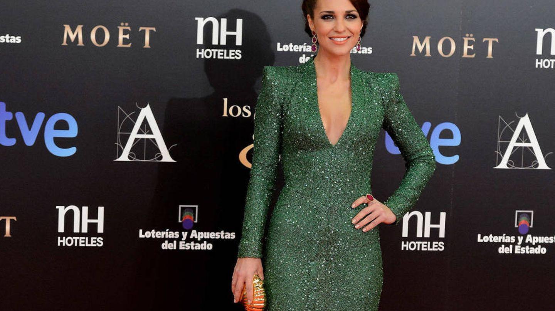 Paula Echevarría, en los Premios Goya 2013 vestida de Dolores Promesas. (Getty)