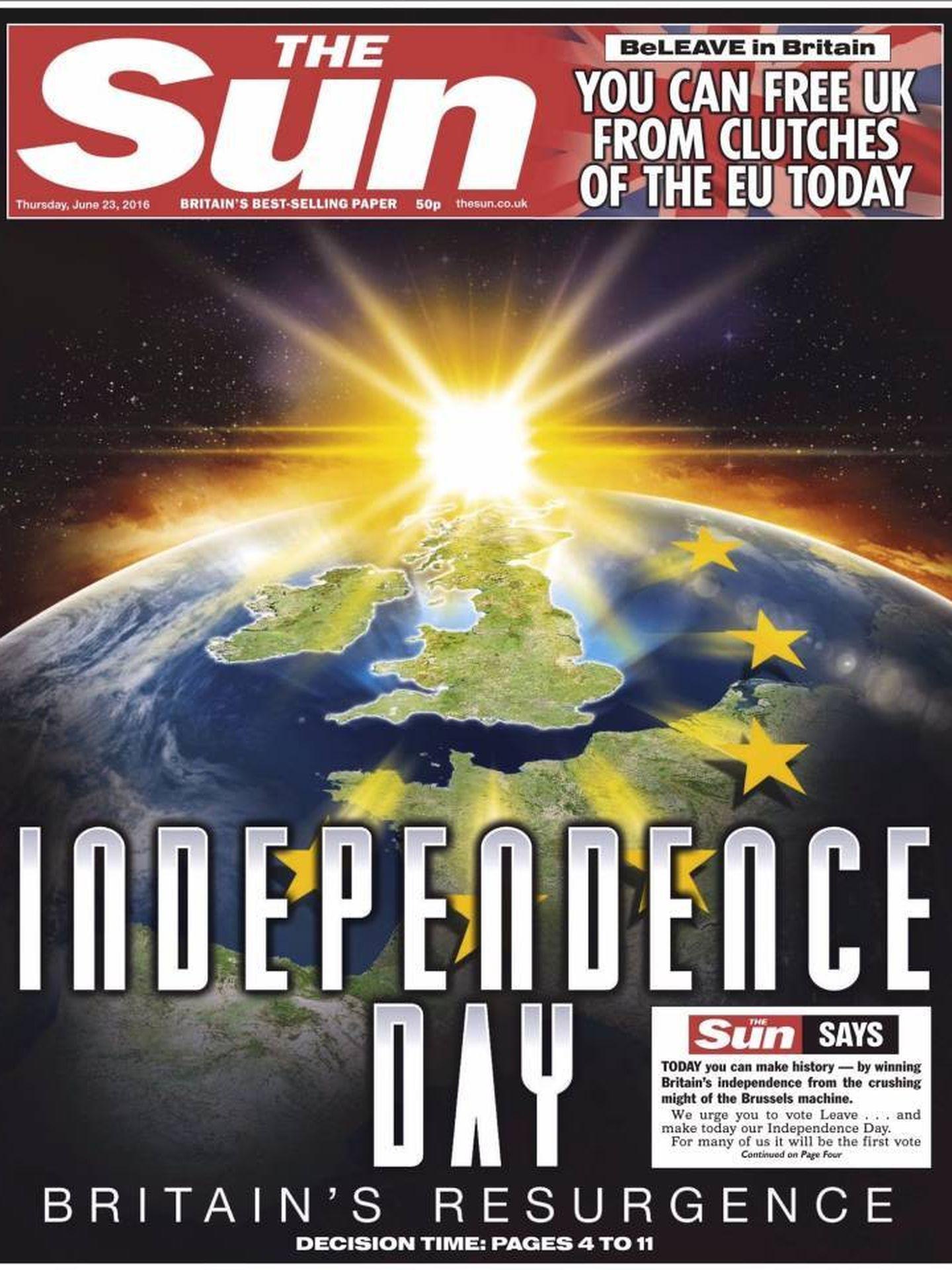 Diario 'The Sun', a favor del 'brexit'. (EC)