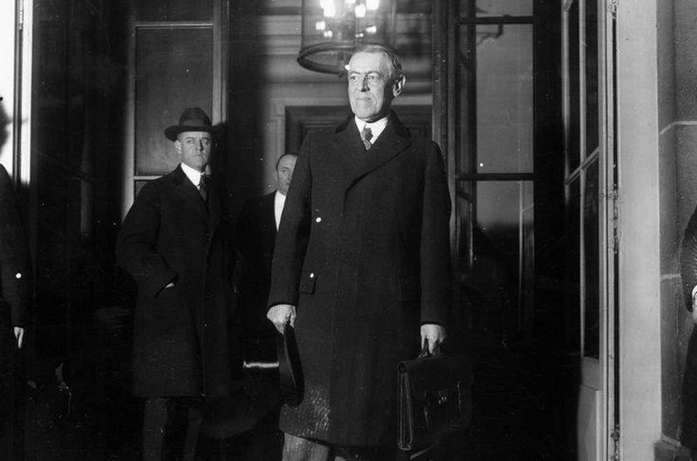 Foto: Woodrow Wilson en la inauguración de la Conferencia de Paz de París en enero de 1919