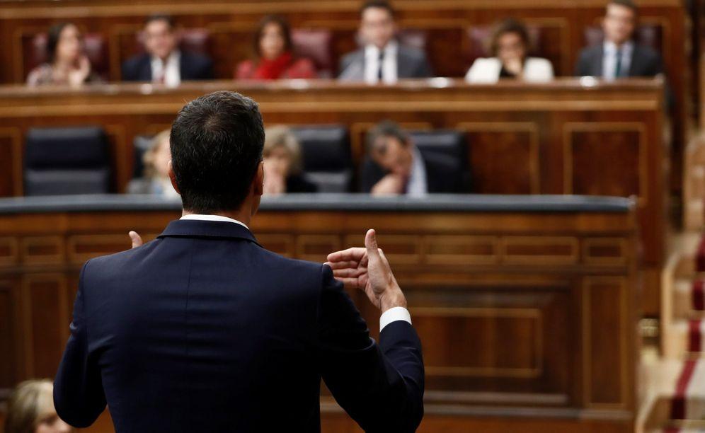Foto: Pedro Sánchez (de espaldas), interviene en la sesión de control al Ejecutivo celebrada esta semana. (EFE)