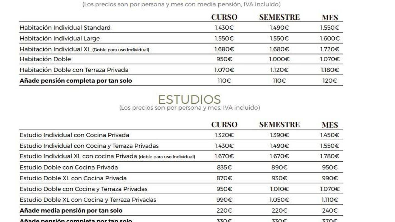 Tabla de precios de la residencia de estudiantes The Lofttown en Barcelona.