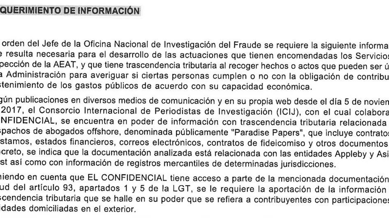 Extracto del requerimiento de la ONIF.
