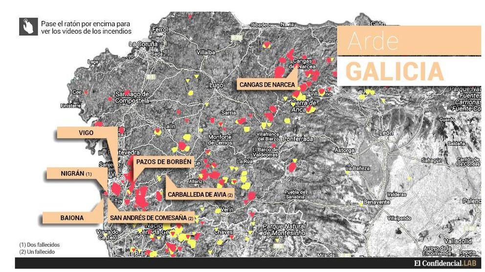 Este es el mapa de los incendios forestales que arrasan Galicia y Asturias