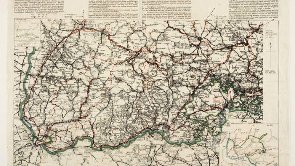 Foto: Minúsculo mapa con instrucciones de la frontera entre Suiza y Alemania. (British Library. Dominio público)