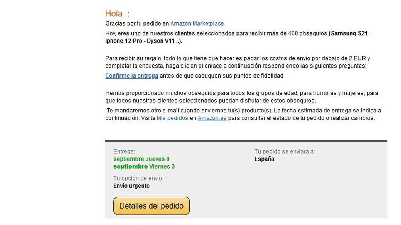 Así es el falso correo de Amazon. (ESET)