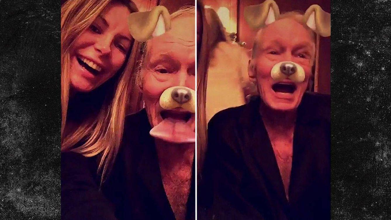 Foto: Hugh Hefner y su mujer Crystal en una imagen de Snapchat