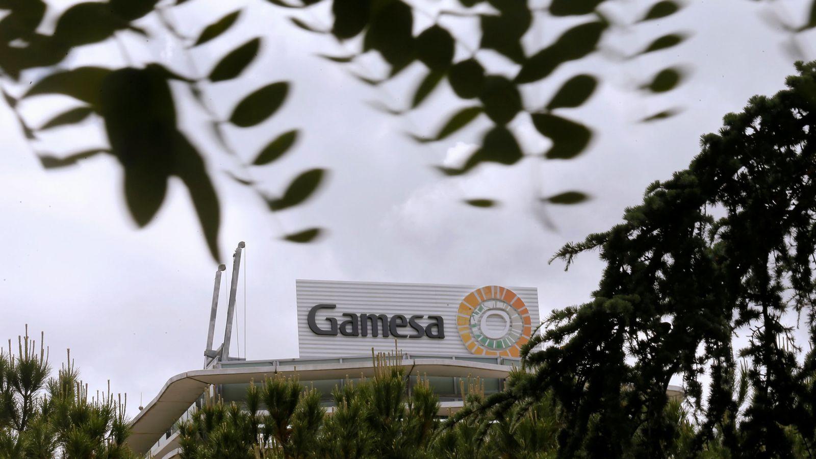 Foto: Logo de Gamesa en la sede de su compañía en Madrid./REUTERS