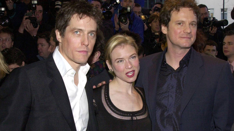 La actriz, junto a Hugh Grant y Colin Firth en el estreno de 'El diario de Bridget Jones'. (Getty)