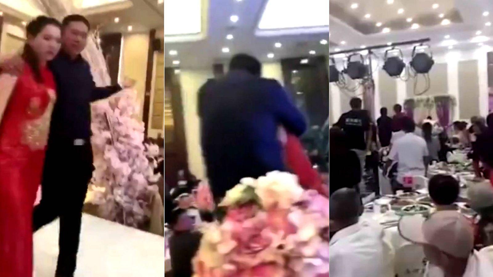 Foto: Capturas del vídeo del suegro que ha besado a la novia de su hijo. (YouTube)