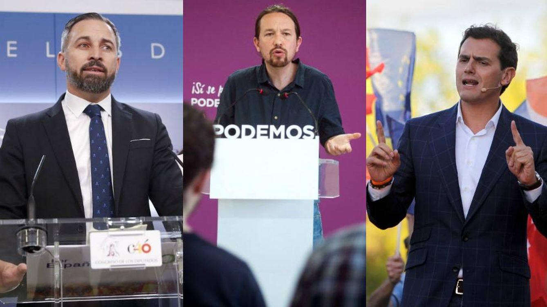 Foto: Santiago Abascal, Pablo Iglesias y Albert Rivera. (EC)