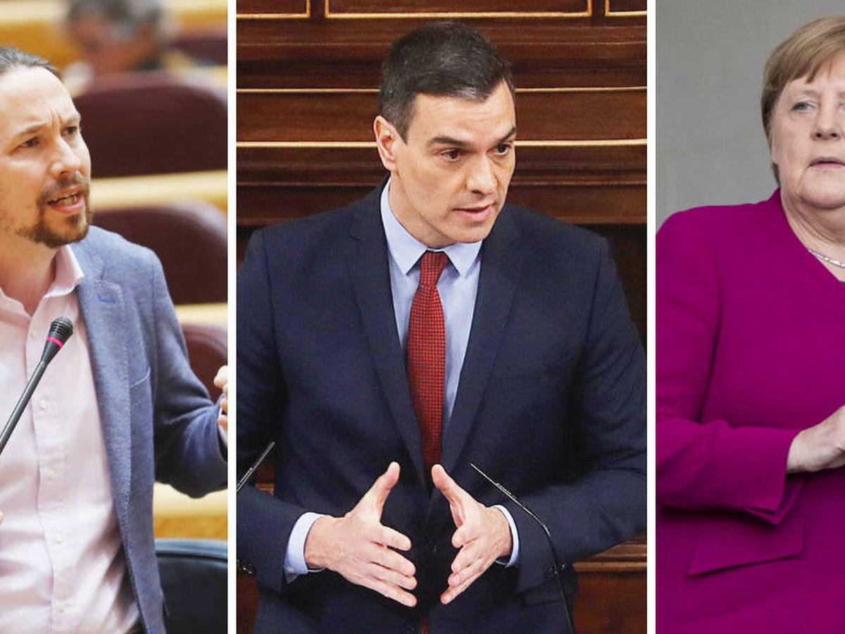 Foto: Pablo Iglesias, Pedro Sánchez y Angela Merkel. (EFE/EC)