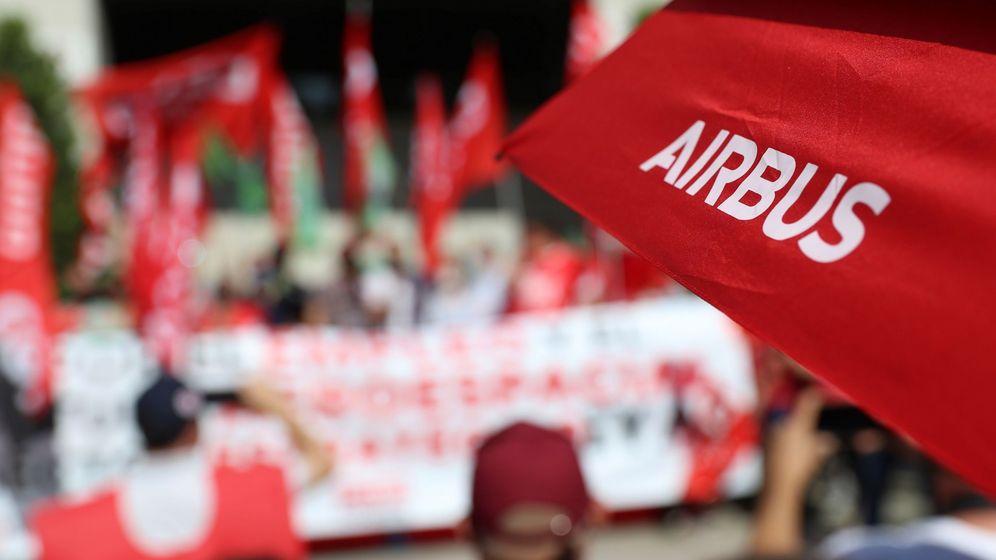 Foto: Huelga de trabajadores de Airbus en Getafe. (EFE)