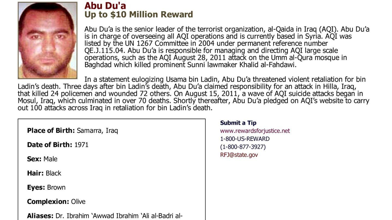 Imagen de Al-Baghdadi distribuida por el Departamento de Estado de EEUU (Reuters).