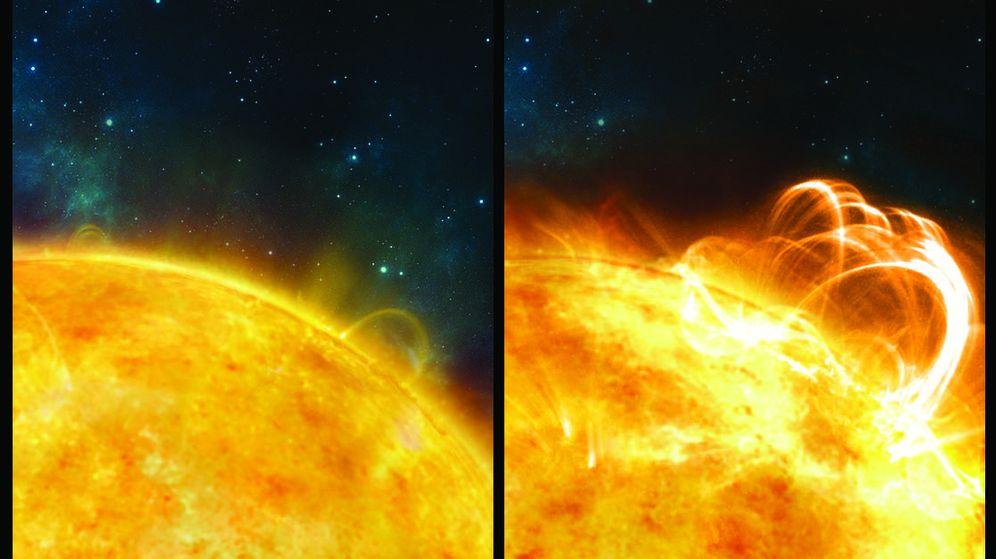 Foto: Recreación artística del Sol sin llamaradas y con una superllamarada