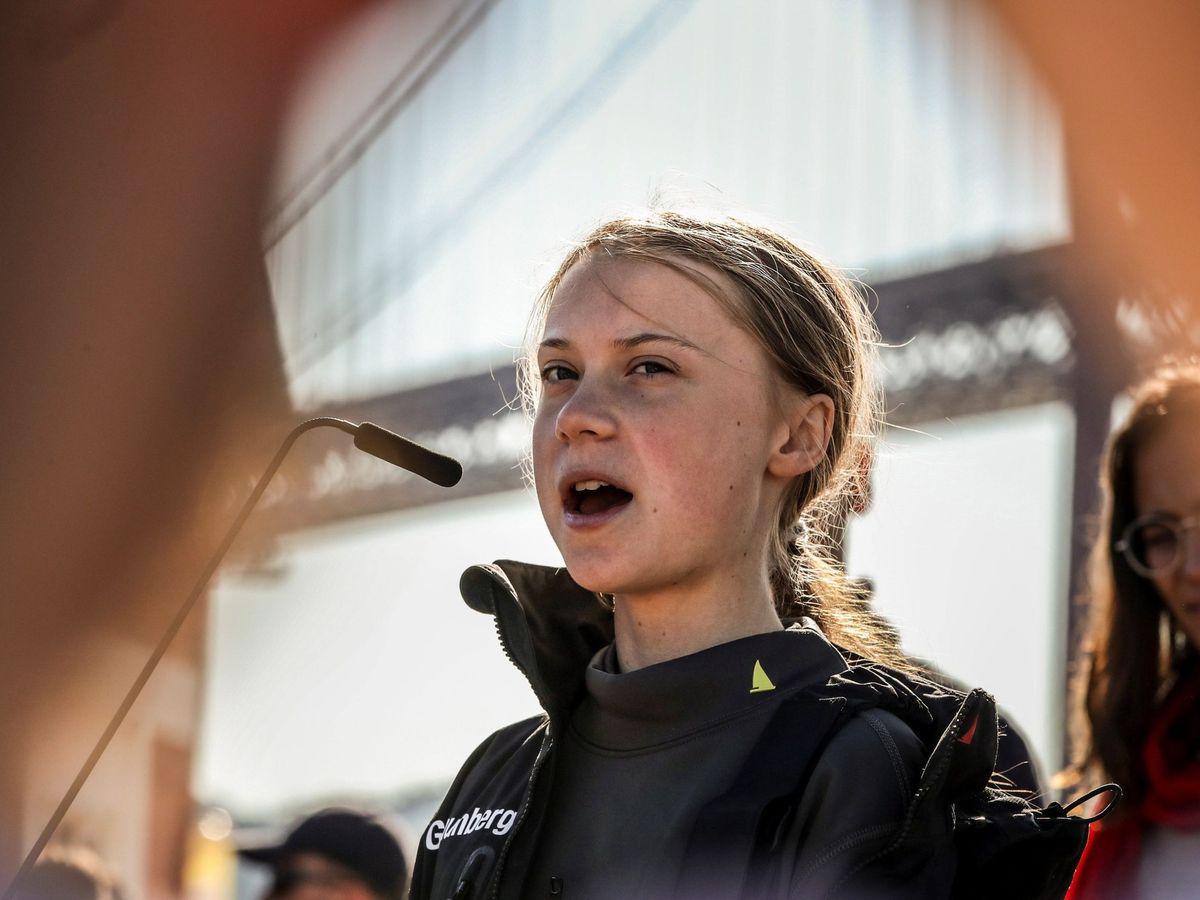 Foto: La activista Greta Thunberg, a su llegada a Lisboa el pasado martes. (EFE)