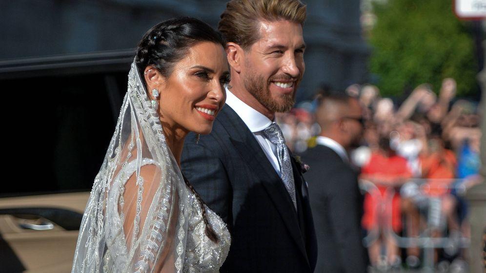 Foto:  Pilar Rubio y Sergio Ramos, convertidos ya en marido y mujer. (Getty)