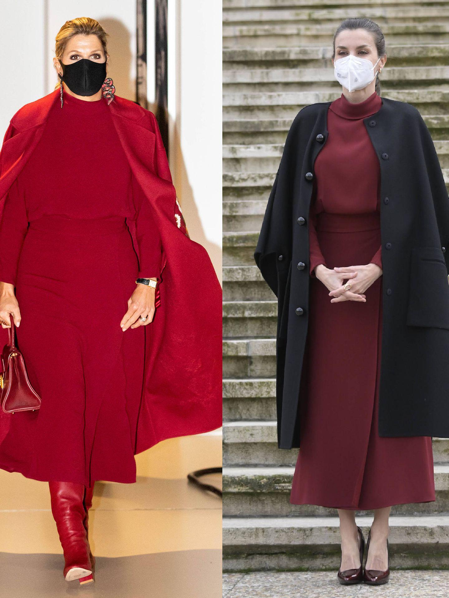 Letizia y Máxima, con el mismo vestido.