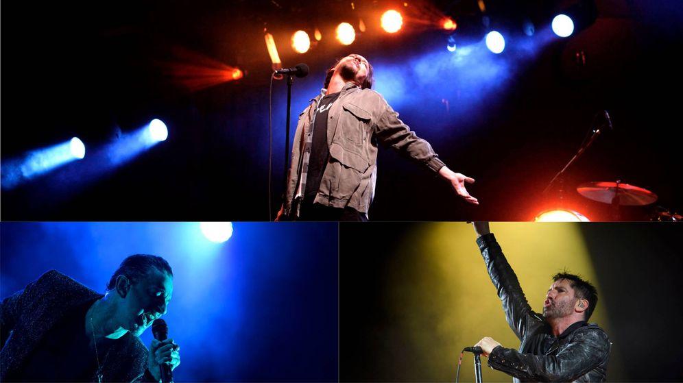 Foto: Algunos de los grupos que tocarán en el Mad Cool: Pearl Jam, Depeche Mode y NIN