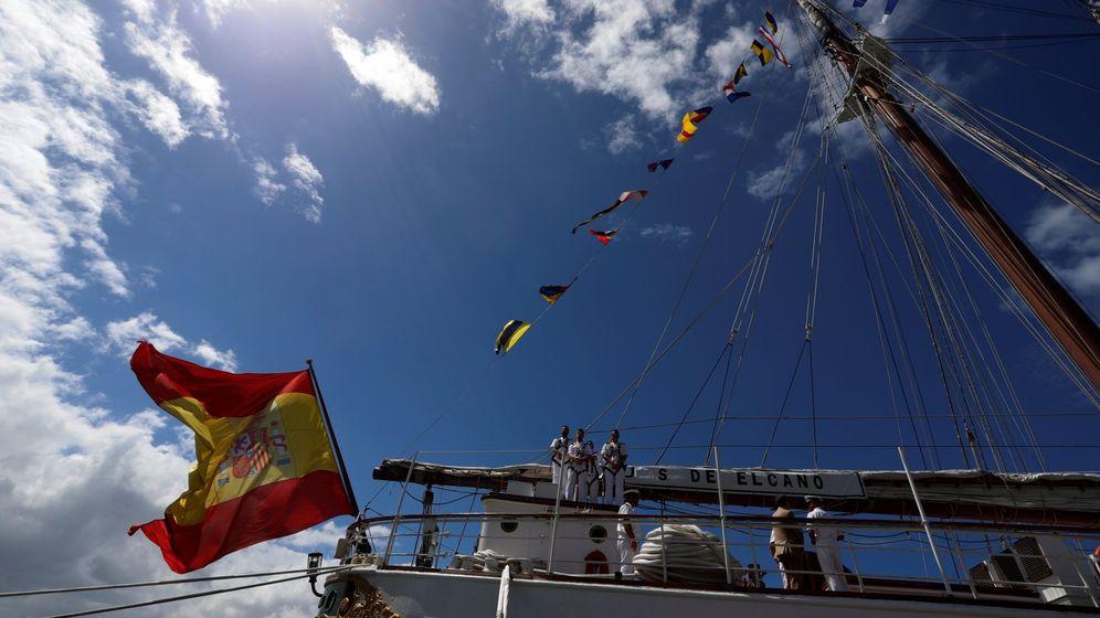 Foto: Marines de instrucción en el buque-escuela Juan Sebastián Elcano. (EFE)