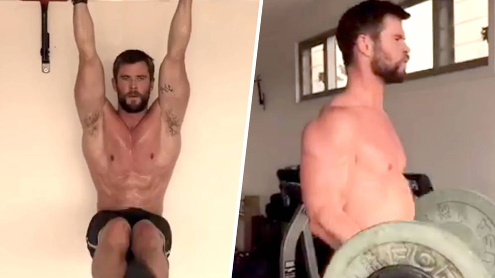 Foto: Chris Hemsworth en imágenes de su rutina de ejercicios publicada en Instagram.