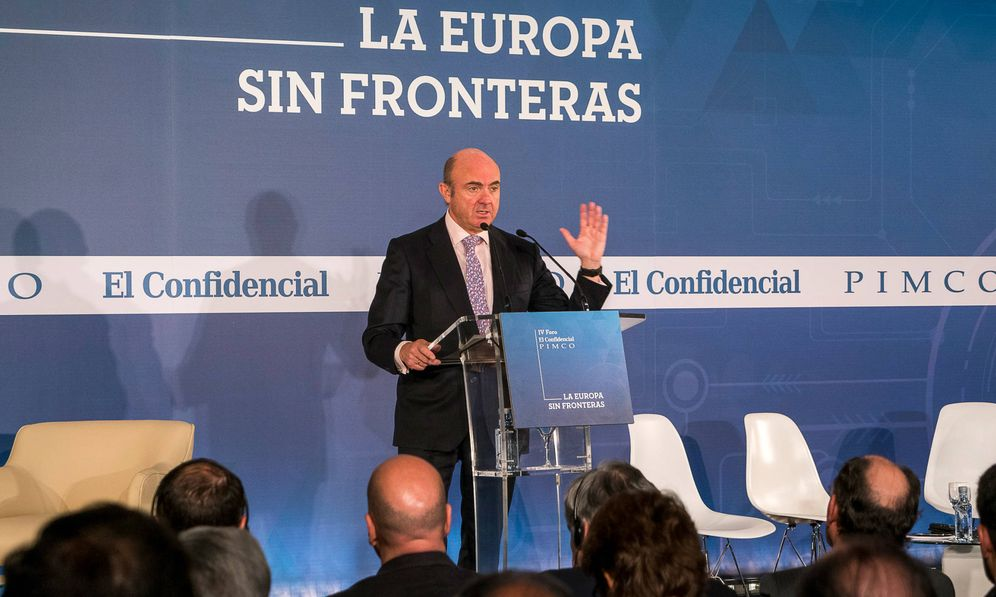 Foto: El ministro de Economía, Luis de Guindos, en el IV Foro El Confidencial - Pimco. (Rolando Gil)