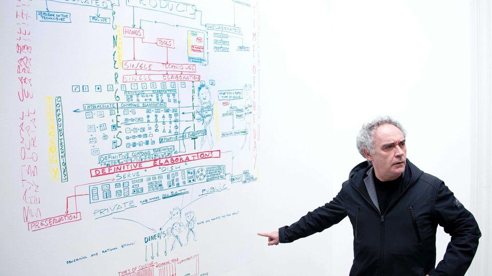 Foto: El chef Ferran Adrià interviene durante su exposición 'Ferran Adrià: notas sobre la creatividad', en el restaurante Marres Kitchen de Maastricht (Holanda), en 2016.