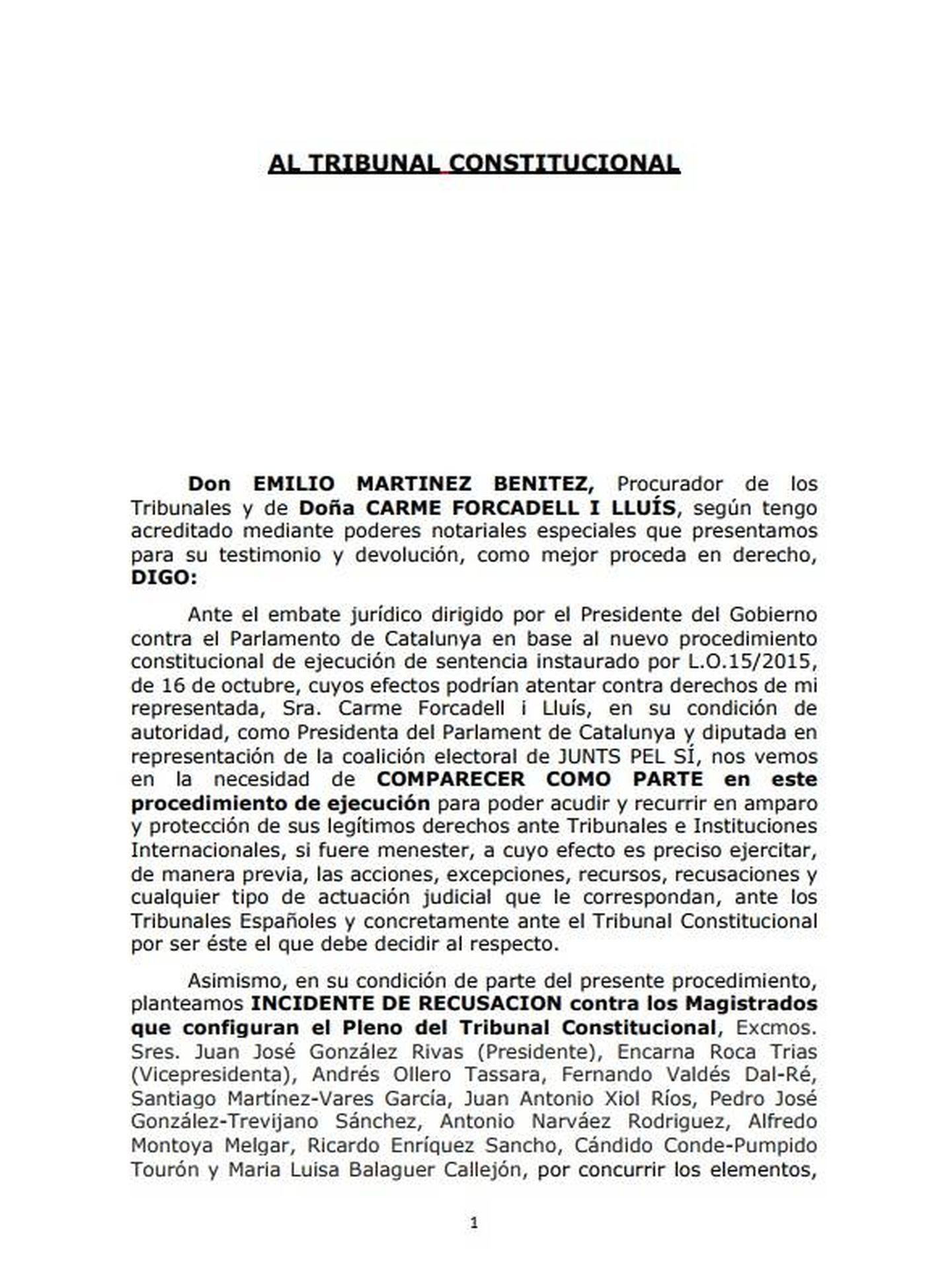 Escrito de recusación enviado al Tribunal Constitucional