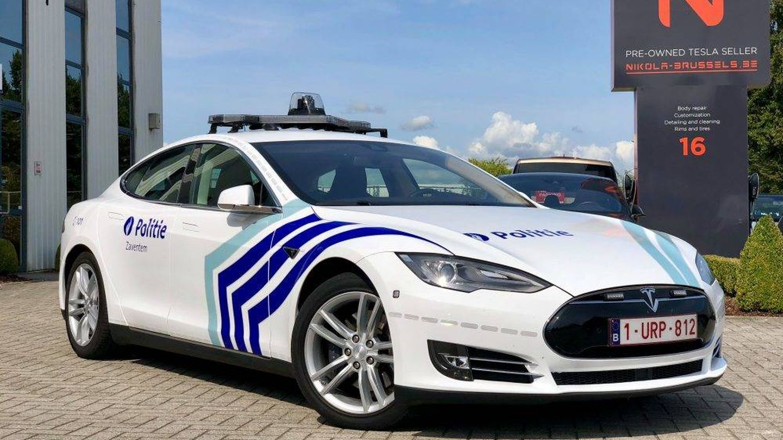 Fotografía facilitada por el concesionario del nuevo Tesla de la policía de Zaventem (Wonitrol Carrosserie)