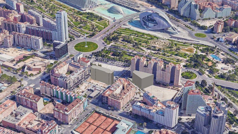 El edificio simulado de la izquierda es el solar que el ayuntamiento quiere ceder a Guadalmedina.