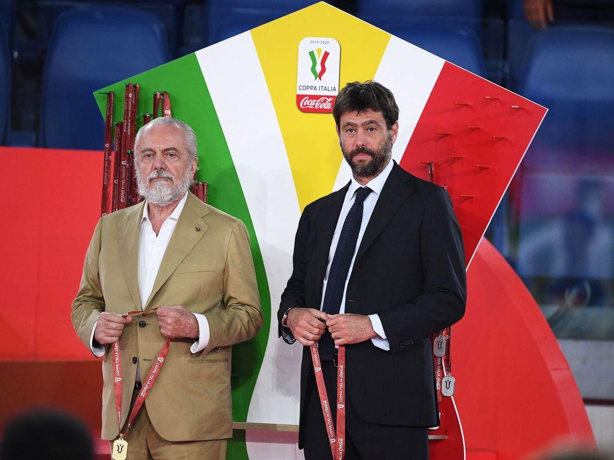Foto: Aurelio De Laurentiis, dirigente del Nápoles, y Andrea Agnelli, de la Juventus, en una imagen de archivo. (Reuters)