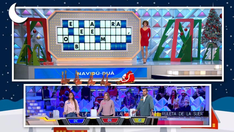 Grafismo navideño en 'La ruleta de la suerte'. (Atresmedia)