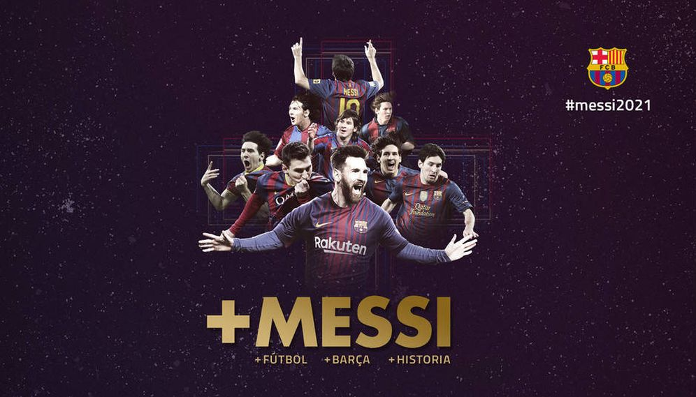 Foto: Ilustración del FC Barcelona para anunciar la renovación de Messi. (fcbarcelona.es)