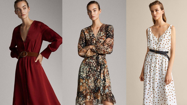 Tres opciones de vestido de la nueva colección de Massimo Dutti. (Cortesía)