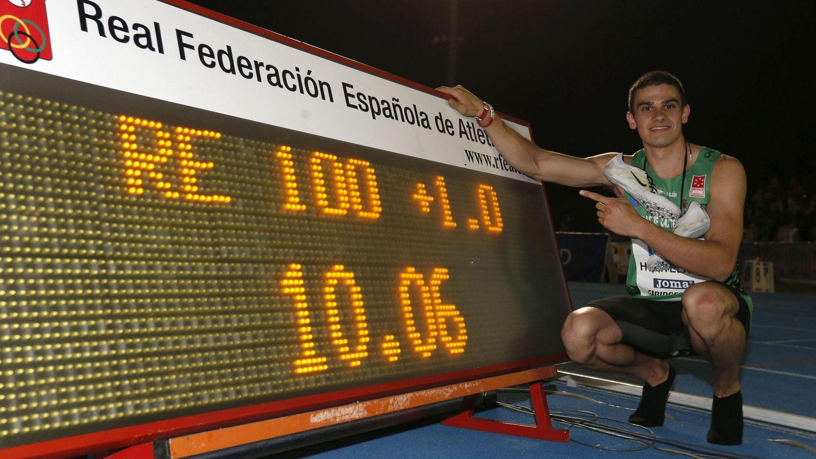 Foto: Bruno Hortelano celebra su victoria en los 100 metros, batiendo el récord de España, en el Centro Deportivo Municipal de Moratalaz. EFE