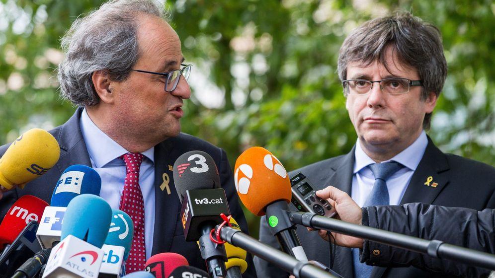 Foto: Torra y Puigdemont se reunieron ayer en Waterloo con miembros de ERC y sin la CUP. (EFE)