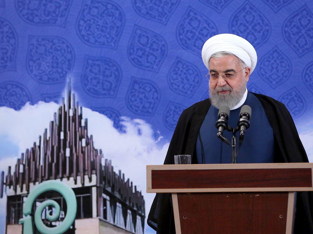 Foto: El presidente de Irán, Hassán Rohaní, en el momento de anunciar la reanudación del enriquecimiento de uranio. (EFE)