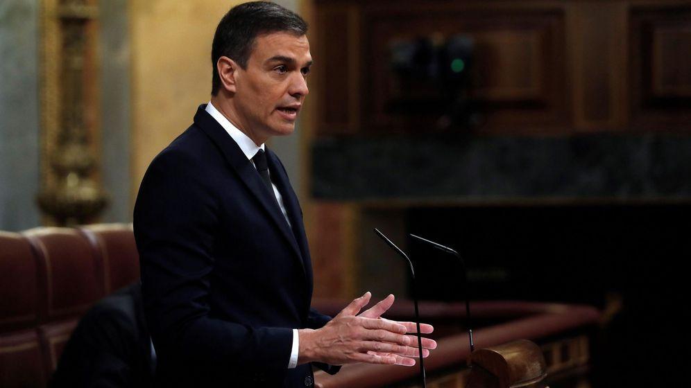 Foto: El presidente del Gobierno, Pedro Sánchez, durante su intervención ante el pleno del Congreso. (EFE)