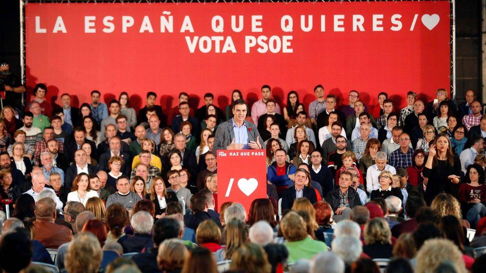 Foto: El presidente del Gobierno, Pedro Sánchez, durante un mitin. (EFE)
