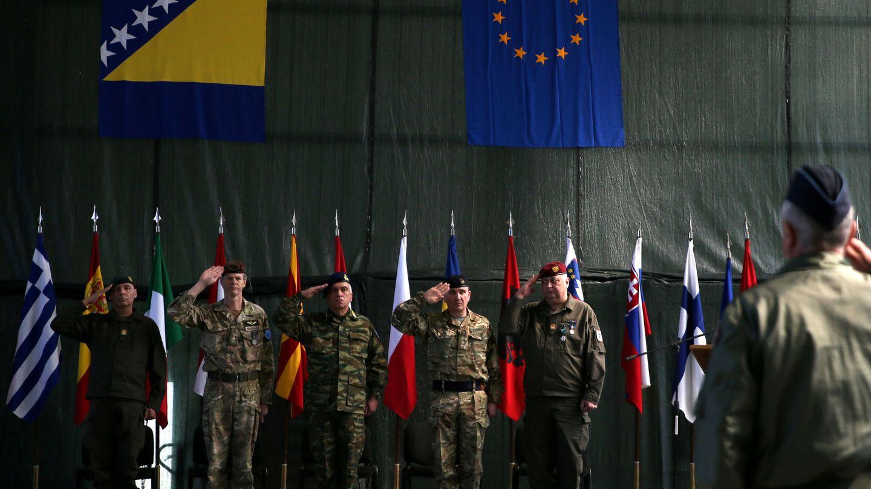 Ceremonia de cambio de mando en la misión de la EUFOR en Sarajevo, el 28 de marzo de 2017. (Reuters)