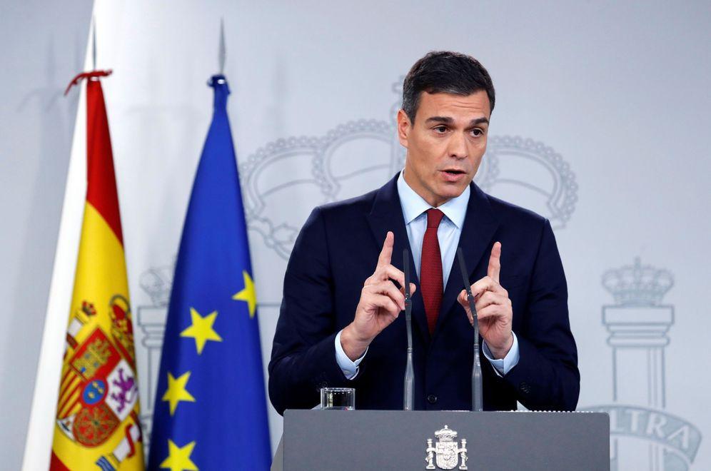 Foto: El presidente del Gobierno, Pedro Sánchez, en una comparecencia en el palacio de la Moncloa. (EFE)