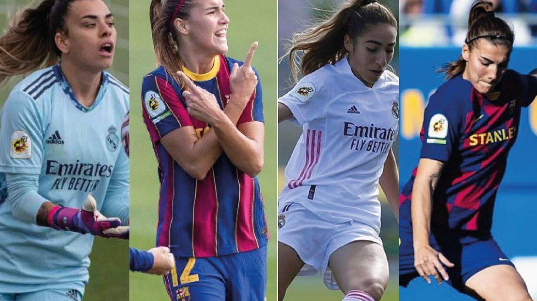 Foto: Las jugadoras del Real Madrid, sin Iberdrola, y las del FC Barcelona, con Iberdrola