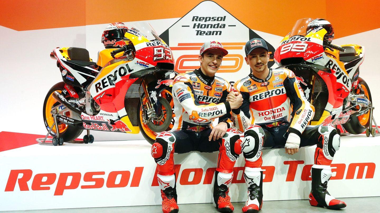 Lorenzo y Márquez, una de las duplas estrellas de Honda en toda su historia, durante la presentación del equipo. (EFE)