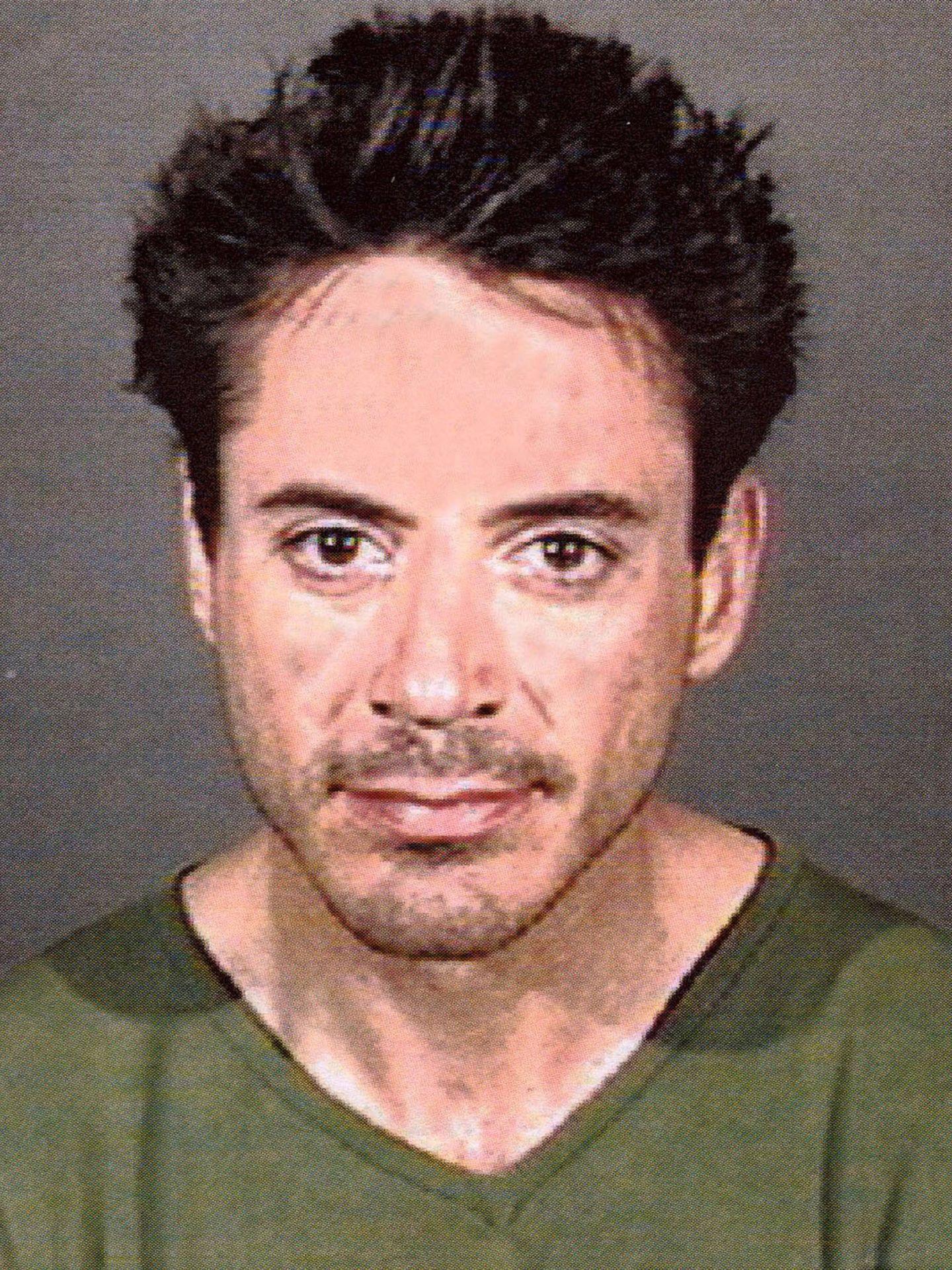 Robert Downey Jr., en la foto de la ficha policial. (Getty)