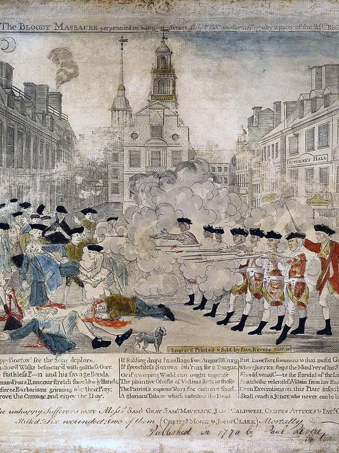 Representación de la matanza de Boston realizada en 1772. (Wikipedia)