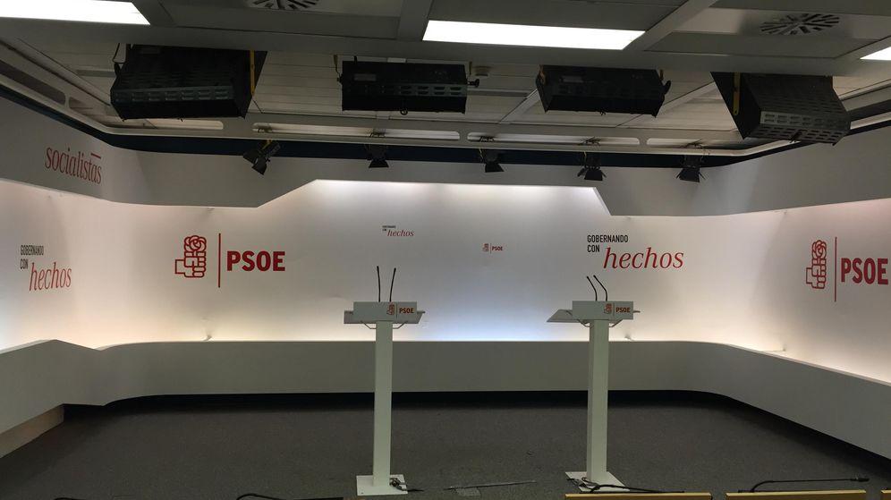 Foto: Vista de la sala de prensa del PSOE en Ferraz, antes de las elecciones generales del 20-D. (El Confidencial)