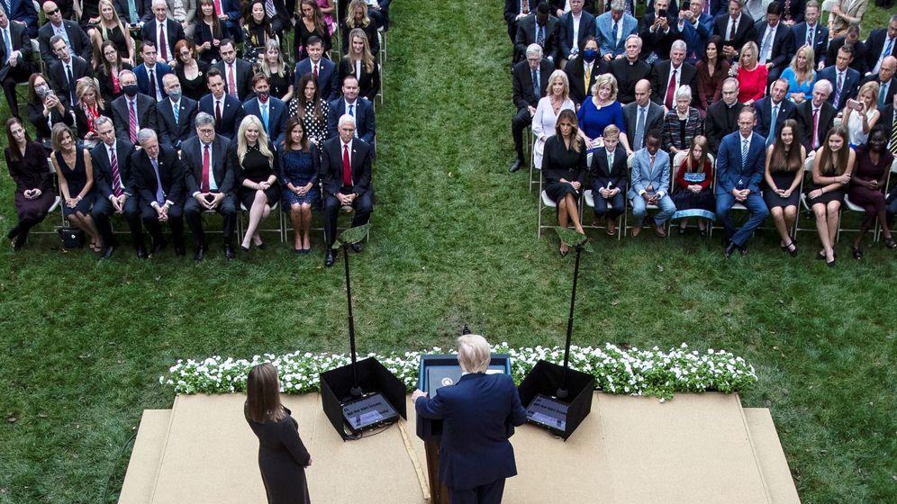Foto: Acto de nominación de la jueza Barret por parte de Trump. (Reuters)