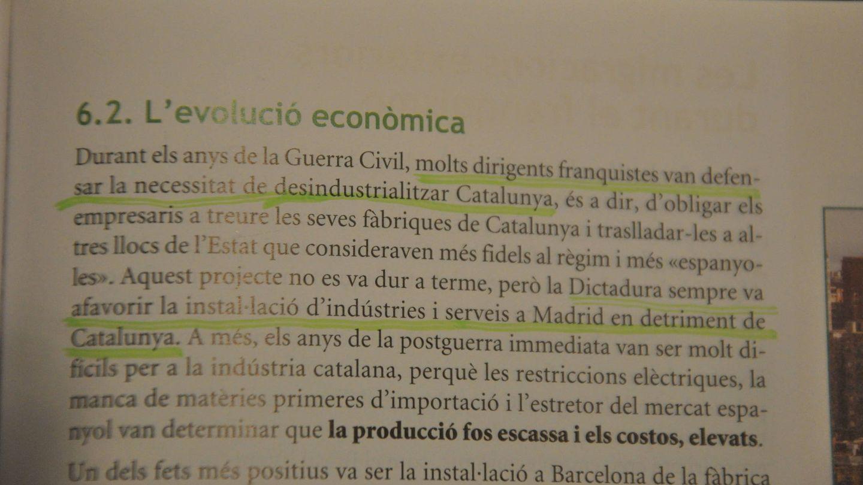 Fragmento del manual de Historia con el que aprenden los jóvenes de 4º de ESO en el IES Joan Boscà.