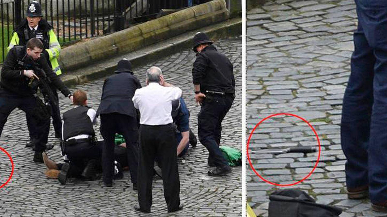 Foto: El momento de la reducción del sospechoso, donde se ve el arma blanca utilizada.